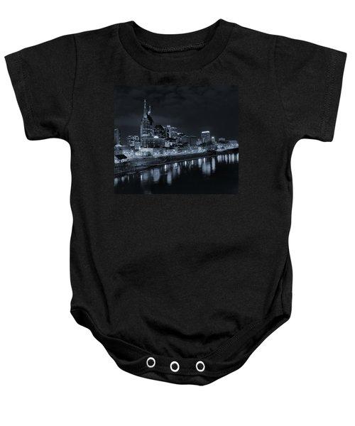 Nashville Skyline At Night Baby Onesie by Dan Sproul