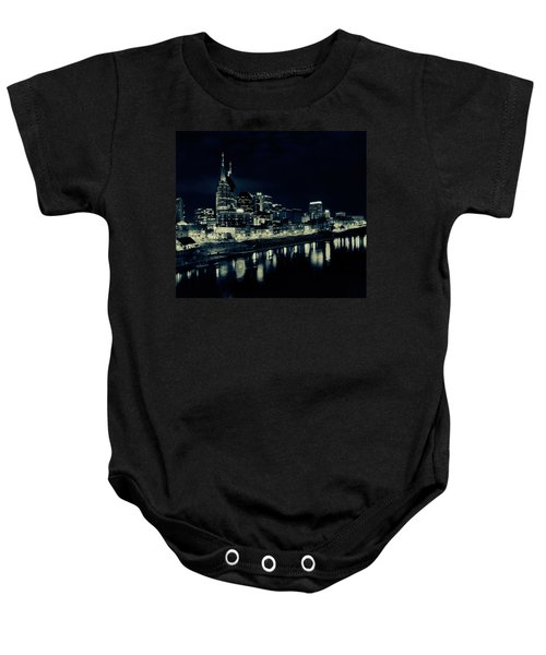 Nashville Skyline Reflected At Night Baby Onesie by Dan Sproul