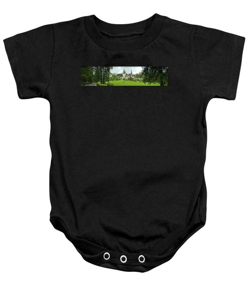 Peles Castle In The Carpathian Baby Onesie by Panoramic Images
