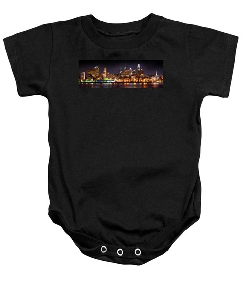 Philadelphia Philly Skyline At Night From East Color Baby Onesie by Jon Holiday
