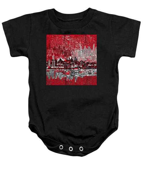 Philadelphia Skyline Abstract 4 Baby Onesie by Bekim Art