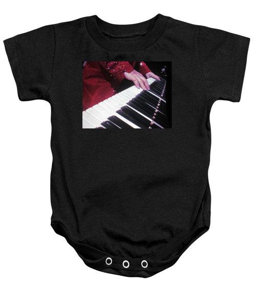 Piano Man At Work Baby Onesie by Aaron Martens
