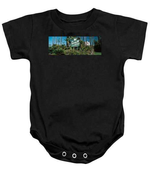 Signboard Of A Hotel, Beverly Hills Baby Onesie by Panoramic Images