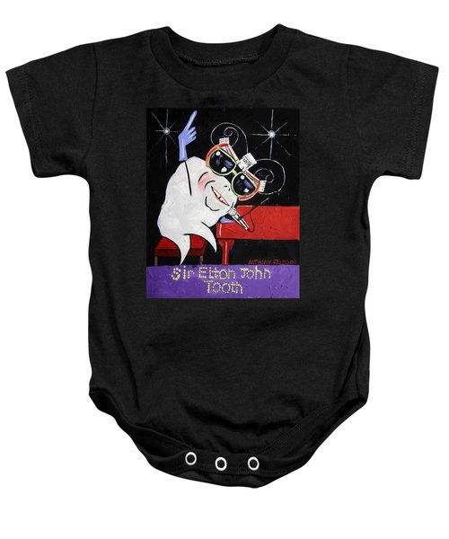 Sir Elton John Tooth  Baby Onesie by Anthony Falbo