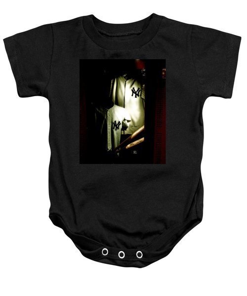 The Locker  Mickey Mantle's And Joe Dimaggio's Locker Baby Onesie by Iconic Images Art Gallery David Pucciarelli