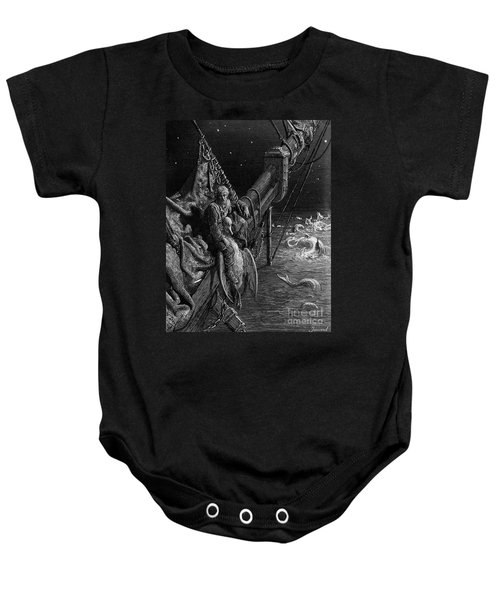 The Mariner Gazes On The Serpents In The Ocean Baby Onesie by Gustave Dore
