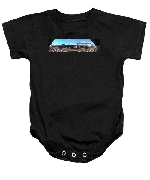 The Old And New Yankee Stadiums Panorama Baby Onesie by Nishanth Gopinathan