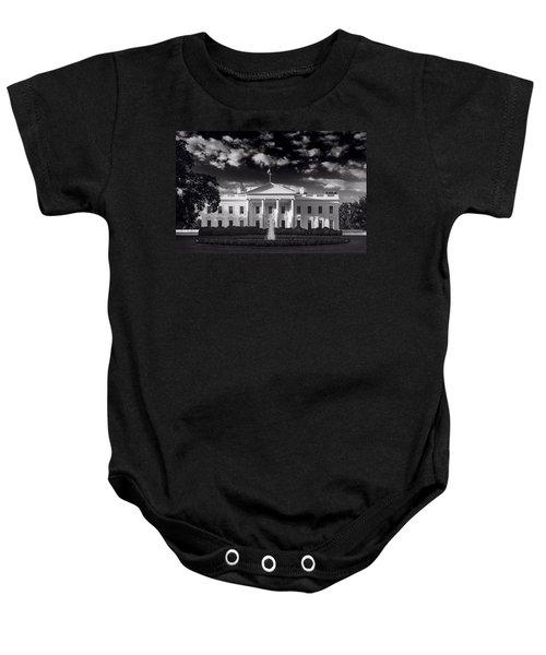 White House Sunrise B W Baby Onesie by Steve Gadomski
