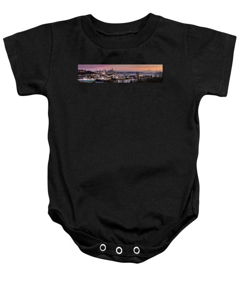 Wider Seattle Skyline And Rainier At Sunset From Magnolia Baby Onesie by Mike Reid