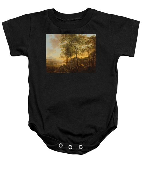 Wooded Hillside With A Vista Baby Onesie by Jan Both