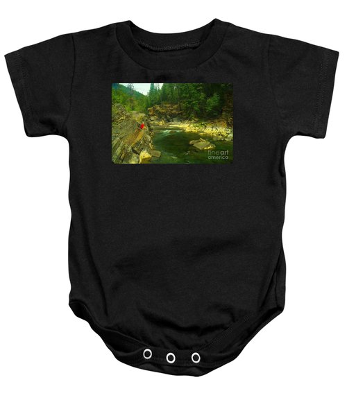 Cliff Over The Yak River Baby Onesie by Jeff Swan