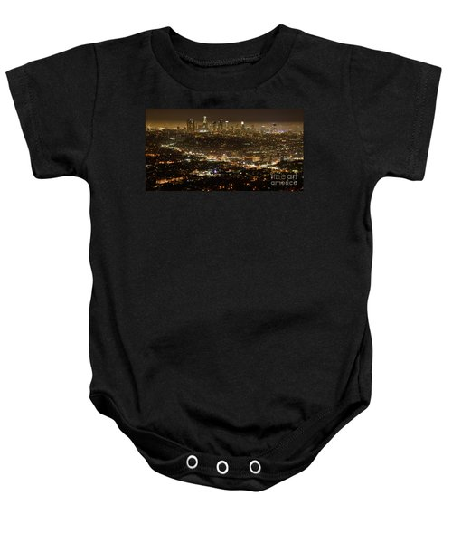 Los Angeles  City View At Night  Baby Onesie by Bob Christopher