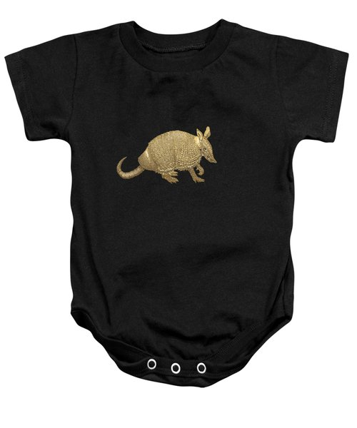 Gold Armadillo On Black Canvas Baby Onesie by Serge Averbukh