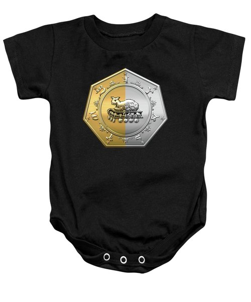 17th Degree Mason - Knight Of The East And West Masonic Jewel  Baby Onesie by Serge Averbukh