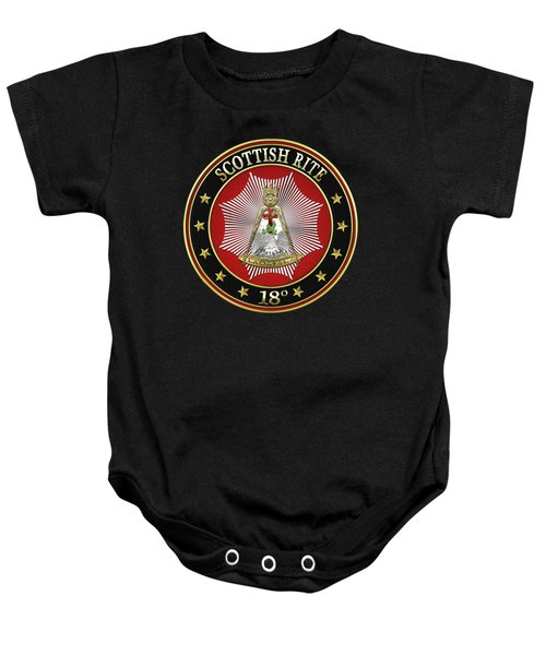 18th Degree - Knight Rose Croix Jewel On Black Leather Baby Onesie by Serge Averbukh