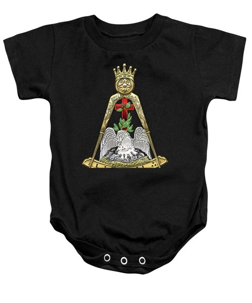 18th Degree Mason - Knight Rose Croix Masonic Jewel  Baby Onesie by Serge Averbukh