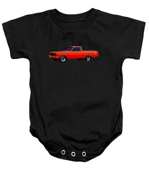 1965 Ford Falcon Ranchero Day At The Beach Baby Onesie by Chas Sinklier