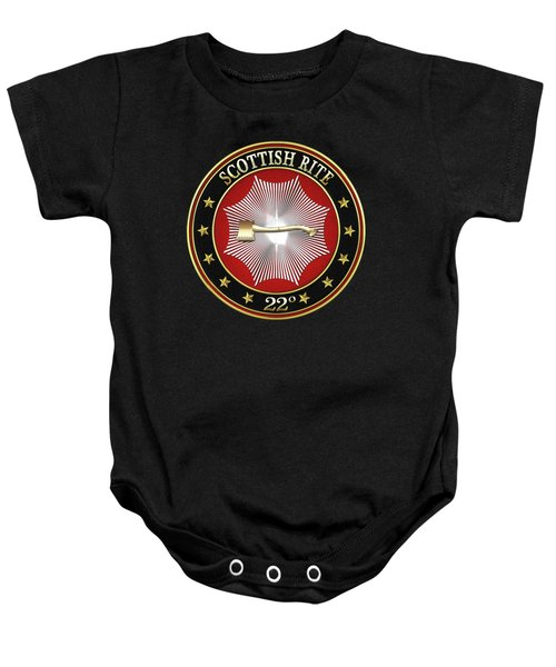 22nd Degree - Knight Of The Royal Axe Jewel On Black Leather Baby Onesie by Serge Averbukh