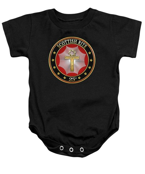 25th Degree - Knight Of The Brazen Serpent Jewel On Black Leather Baby Onesie by Serge Averbukh