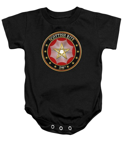 28th Degree - Knight Commander Of The Temple Jewel On Black Leather Baby Onesie by Serge Averbukh