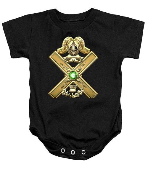 29th Degree Mason - Scottish Knight Of Saint Andrew Masonic Jewel  Baby Onesie by Serge Averbukh