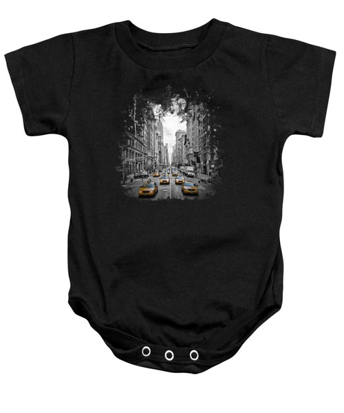 5th Avenue Yellow Cabs Baby Onesie by Melanie Viola