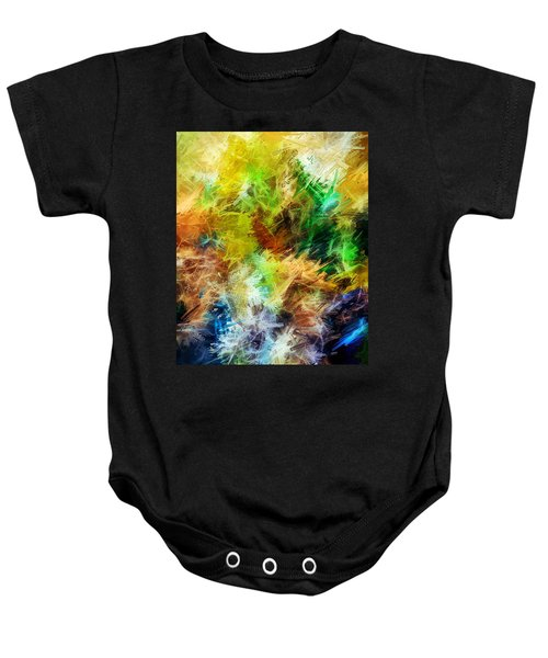Abstract, Yellow  Baby Onesie by Sandy Taylor