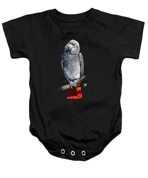 African Grey Parrot C Baby Onesie by Owen Bell
