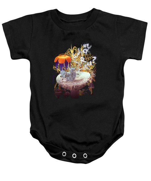 Alice N The Hookah Caterpillar Baby Onesie by Methune Hively