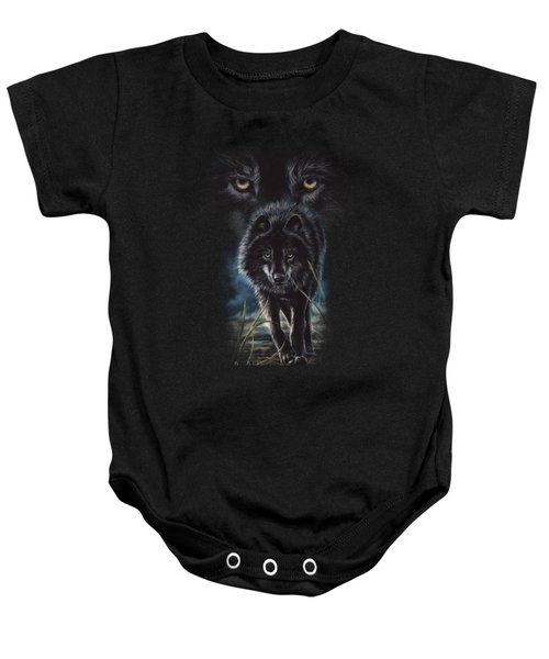 Black Wolf Hunting Baby Onesie by Lucie Bilodeau