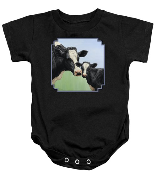 Holstein Cow And Calf Baby Onesie by Crista Forest