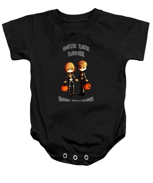 Skeleton Twinz Halloween Baby Onesie by Methune Hively