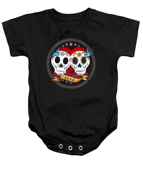 Love Skulls II Baby Onesie by Tammy Wetzel