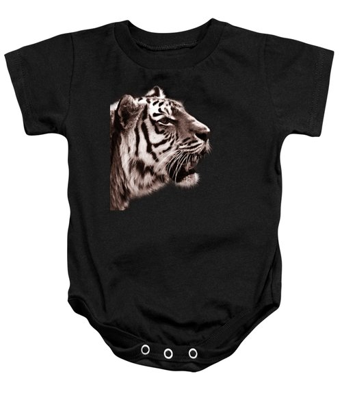 Siberian Tiger Profile Baby Onesie by Crystal Wightman
