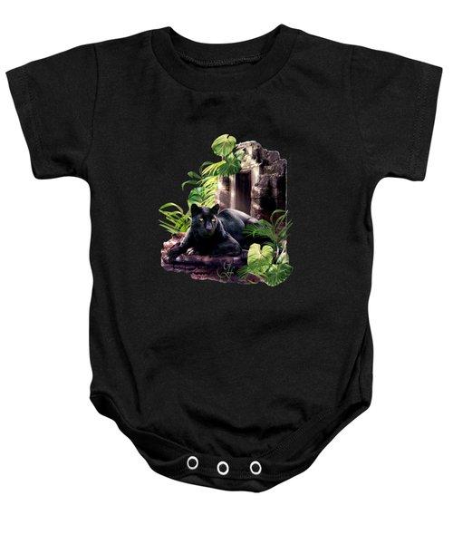 Black Panther Custodian Of Ancient Temple Ruins  Baby Onesie by Regina Femrite