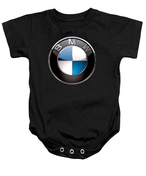 B M W - 3d Badge On Black Baby Onesie by Serge Averbukh