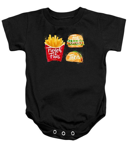 Black French Fries Baby Onesie by Aloke Design
