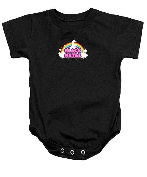 Black Metal Funny Unicorn / Rainbow Mosh Parody Design Baby Onesie by Philipp Rietz