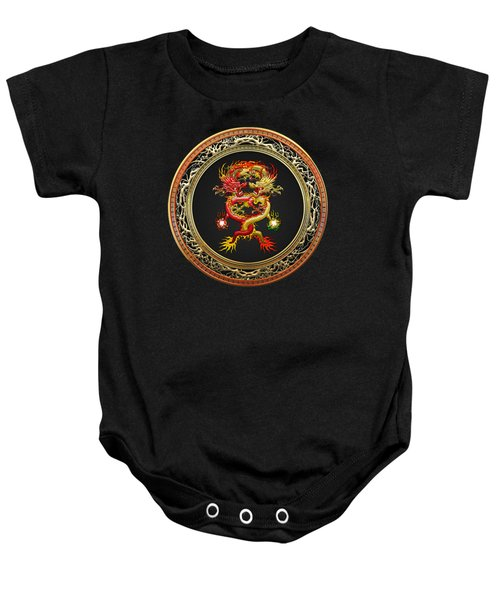 Brotherhood Of The Snake - The Red And The Yellow Dragons On Black Velvet Baby Onesie by Serge Averbukh
