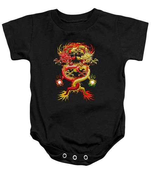 Brotherhood Of The Snake - The Red And The Yellow Dragons On Red And Black Leather Baby Onesie by Serge Averbukh