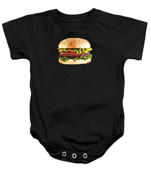 Burger Sndwich Hamburger Baby Onesie by T Shirts R Us -
