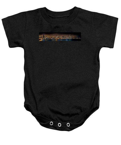 Chicago Skyline At Night Extra Wide Panorama Baby Onesie by Jon Holiday