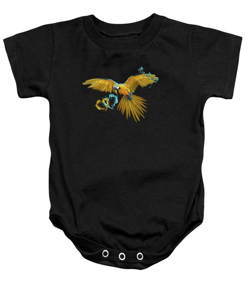 Colorful Blue And Yellow Macaw Baby Onesie by iMia dEsigN