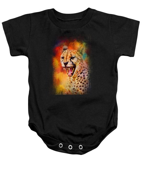 Colorful Expressions Cheetah 2 Baby Onesie by Jai Johnson