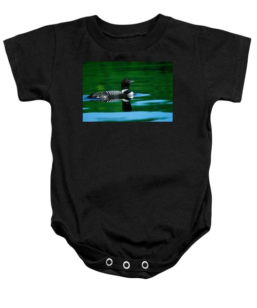 Common Loon In Water, Michigan, Usa Baby Onesie by Panoramic Images
