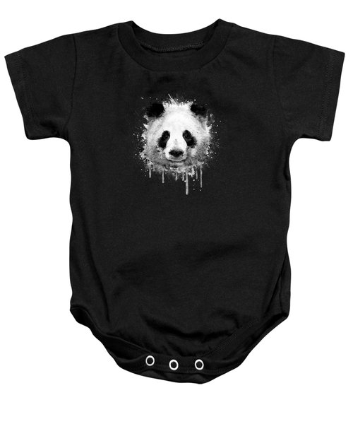 Cool Abstract Graffiti Watercolor Panda Portrait In Black And White  Baby Onesie by Philipp Rietz