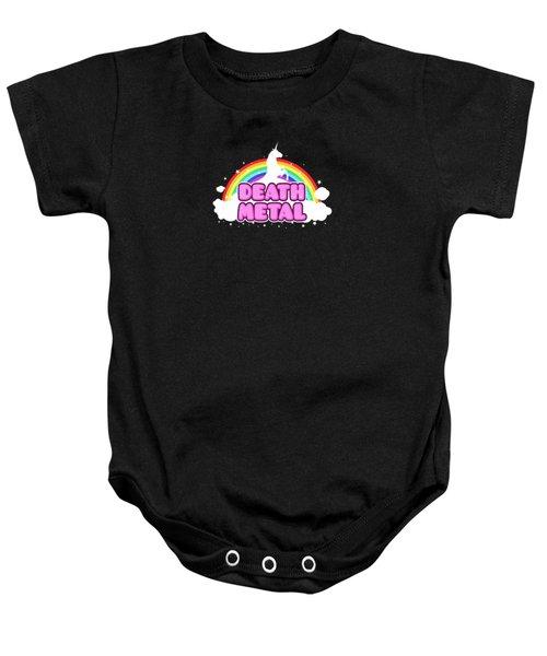 Death Metal Funny Unicorn  Rainbow Mosh Parody Design Baby Onesie by Philipp Rietz