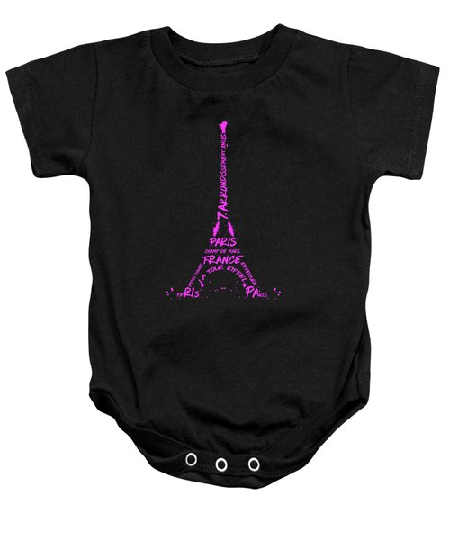 Digital-art Eiffel Tower Pink Baby Onesie by Melanie Viola