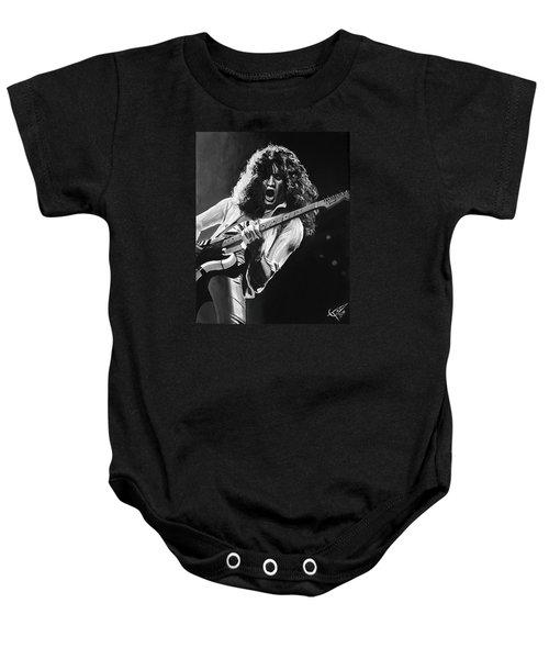Eddie Van Halen - Black And White Baby Onesie by Tom Carlton