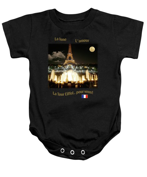 Eiffel Tower At Night Baby Onesie by Jon Delorme